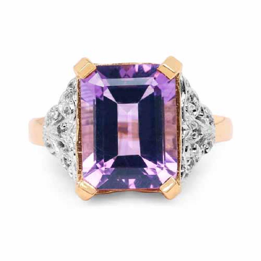14K Yellow Gold Plated 4.95 Carat Genuine Amethyst and