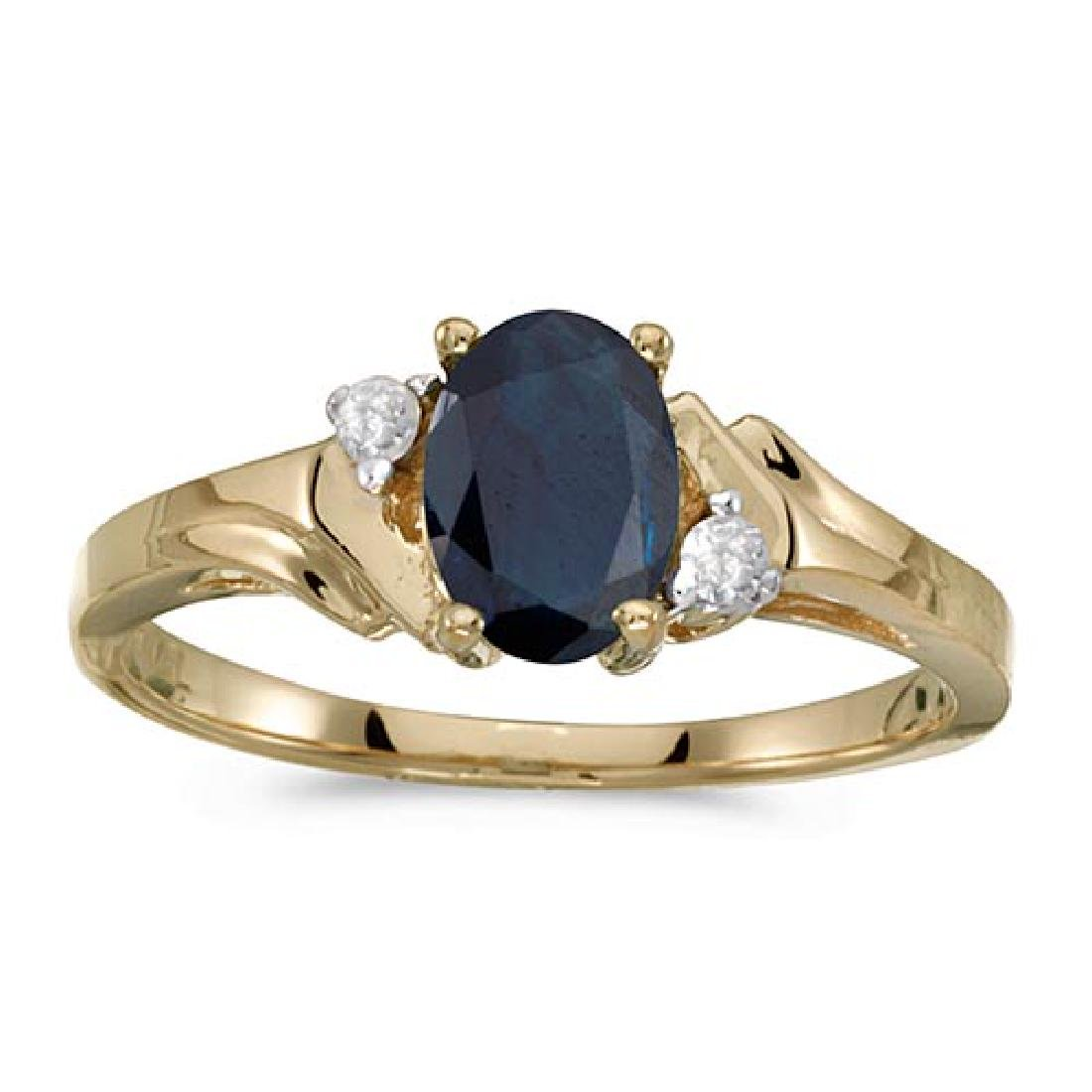 Certified 14k Yellow Gold Oval Sapphire And Diamond Rin