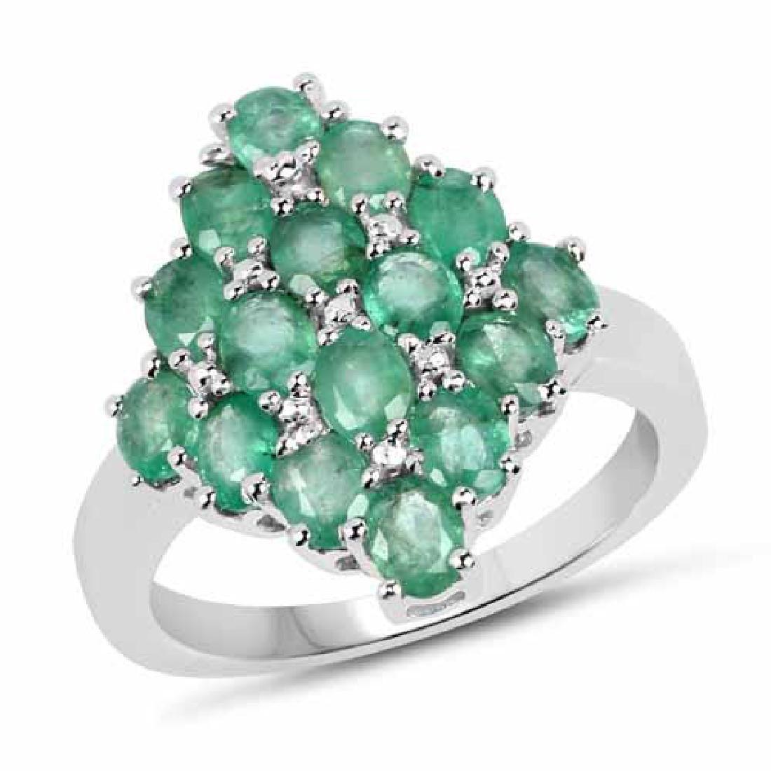 2.40 Carat Genuine Zambian Emerald .925 Sterling Silver