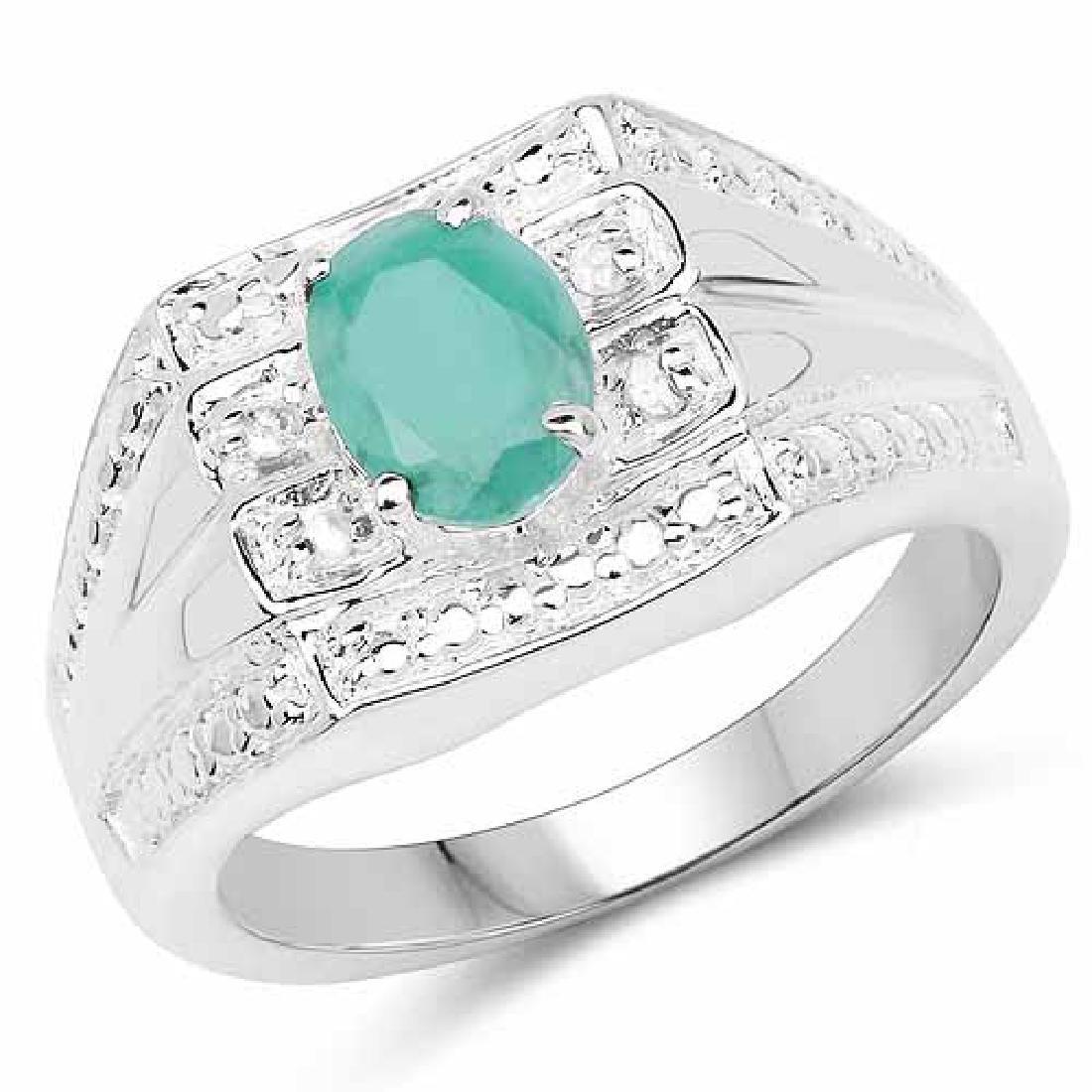 0.68 Carat Genuine Emerald and White Diamond .925 Sterl