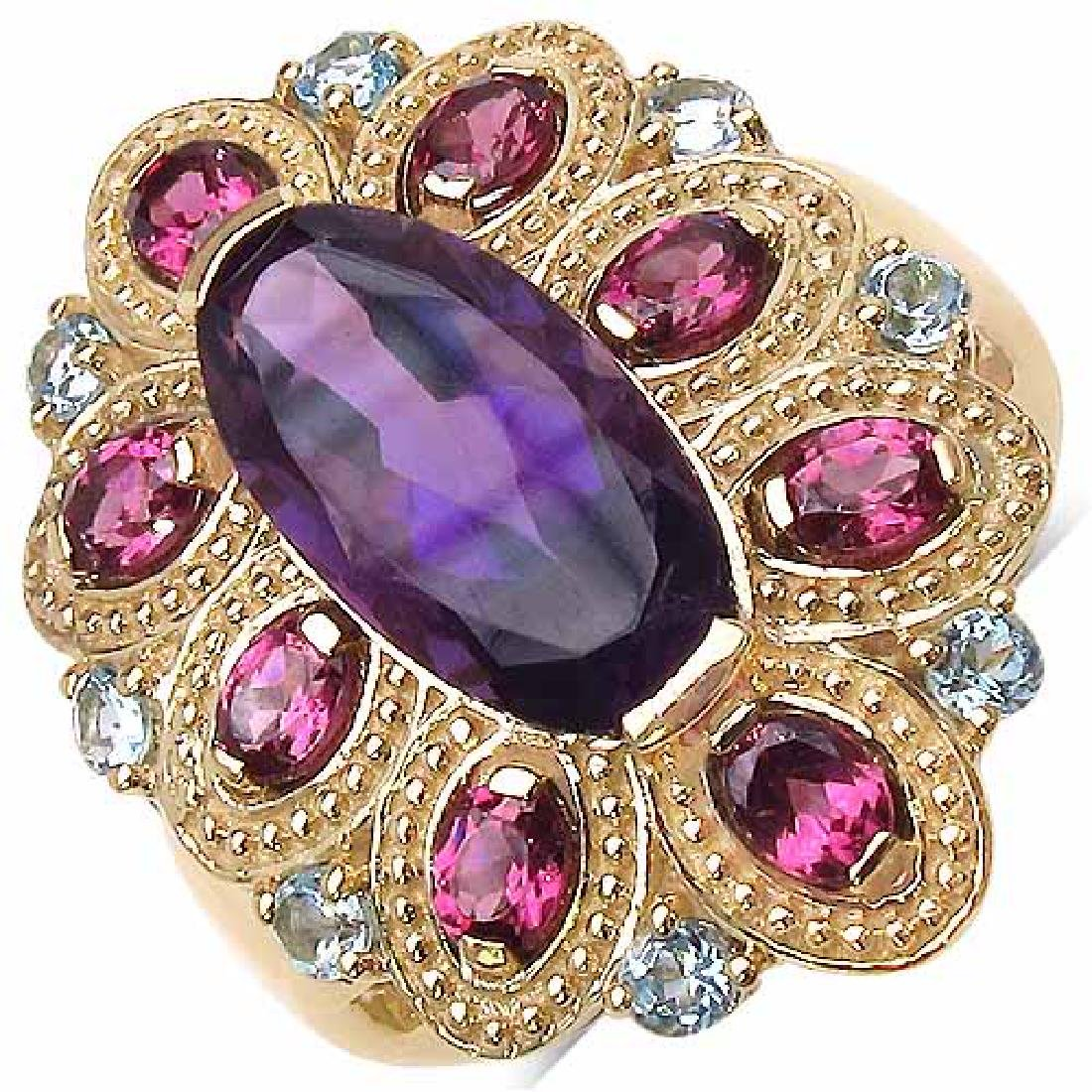 14K Gold Plated 4.50 Carat Amethyst Ring with 2.40 ct.