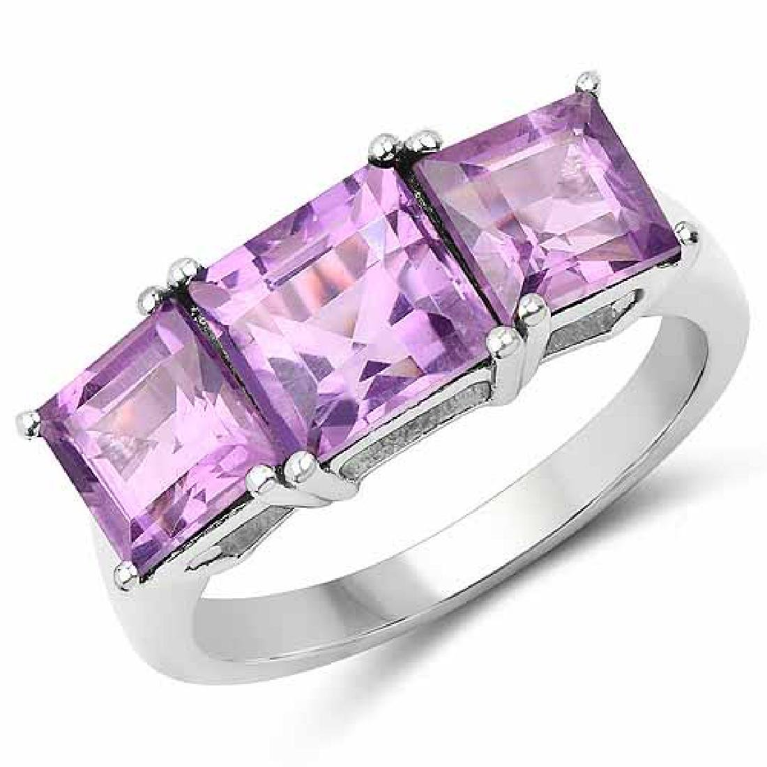 4.37 Carat Genuine Amethyst .925 Sterling Silver Ring