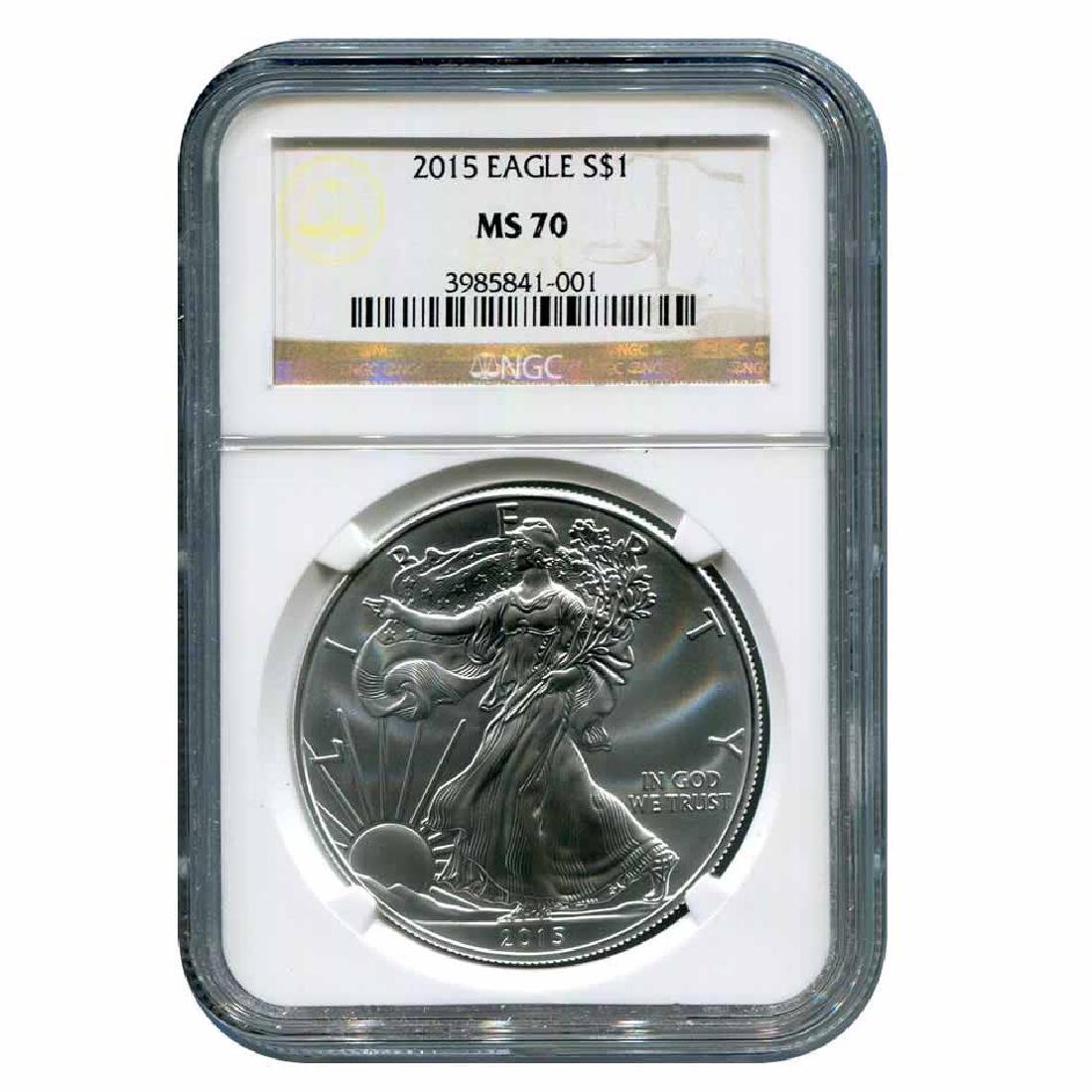 Certified Uncirculated Silver Eagle 2015 MS70 NGC