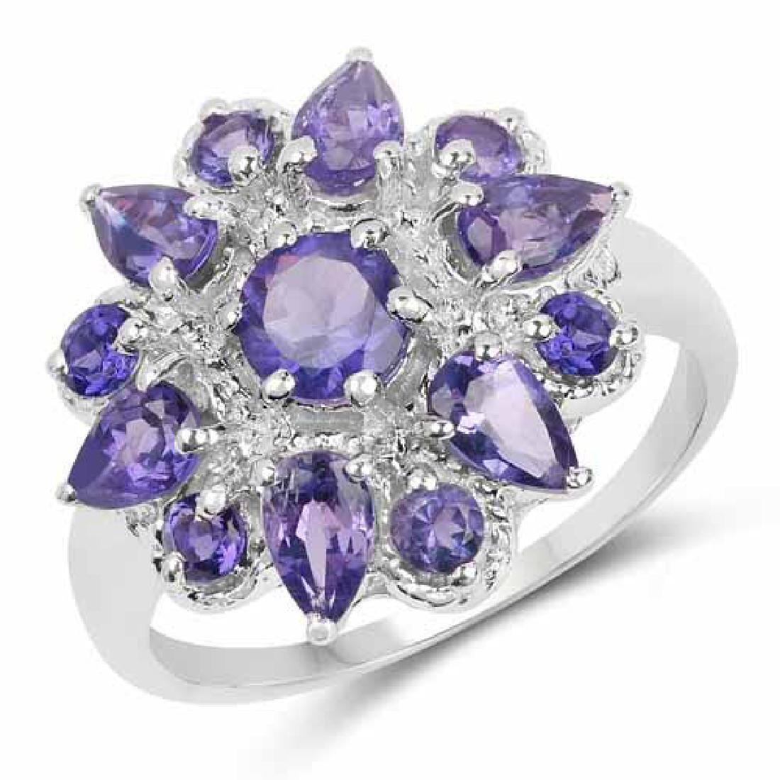 2.19 Carat Genuine Amethyst .925 Sterling Silver Ring