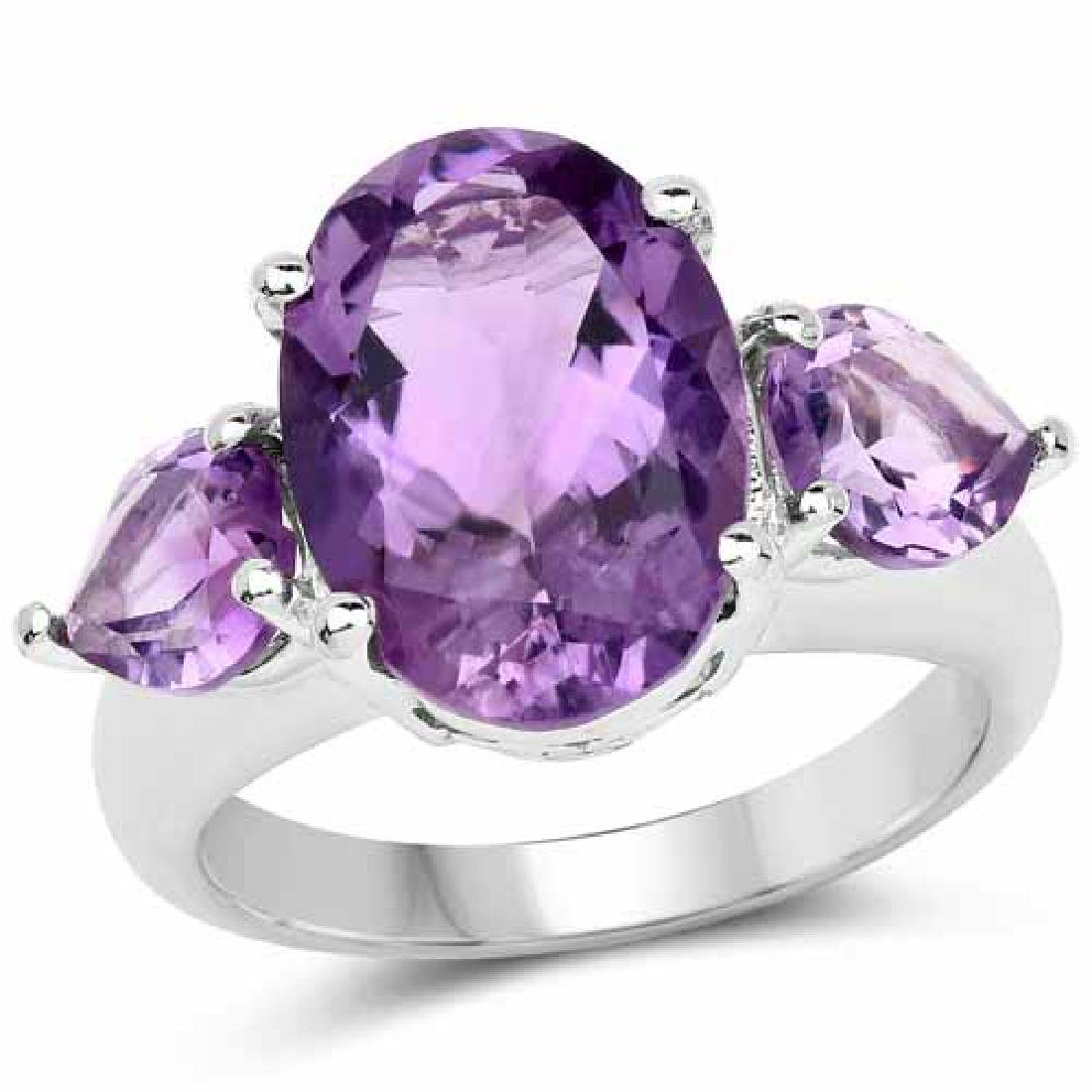 6.30 Carat Genuine Amethyst .925 Sterling Silver Ring