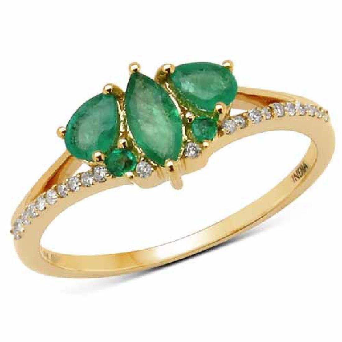 0.64 Carat Genuine Zambian Emerald and White Diamond 14