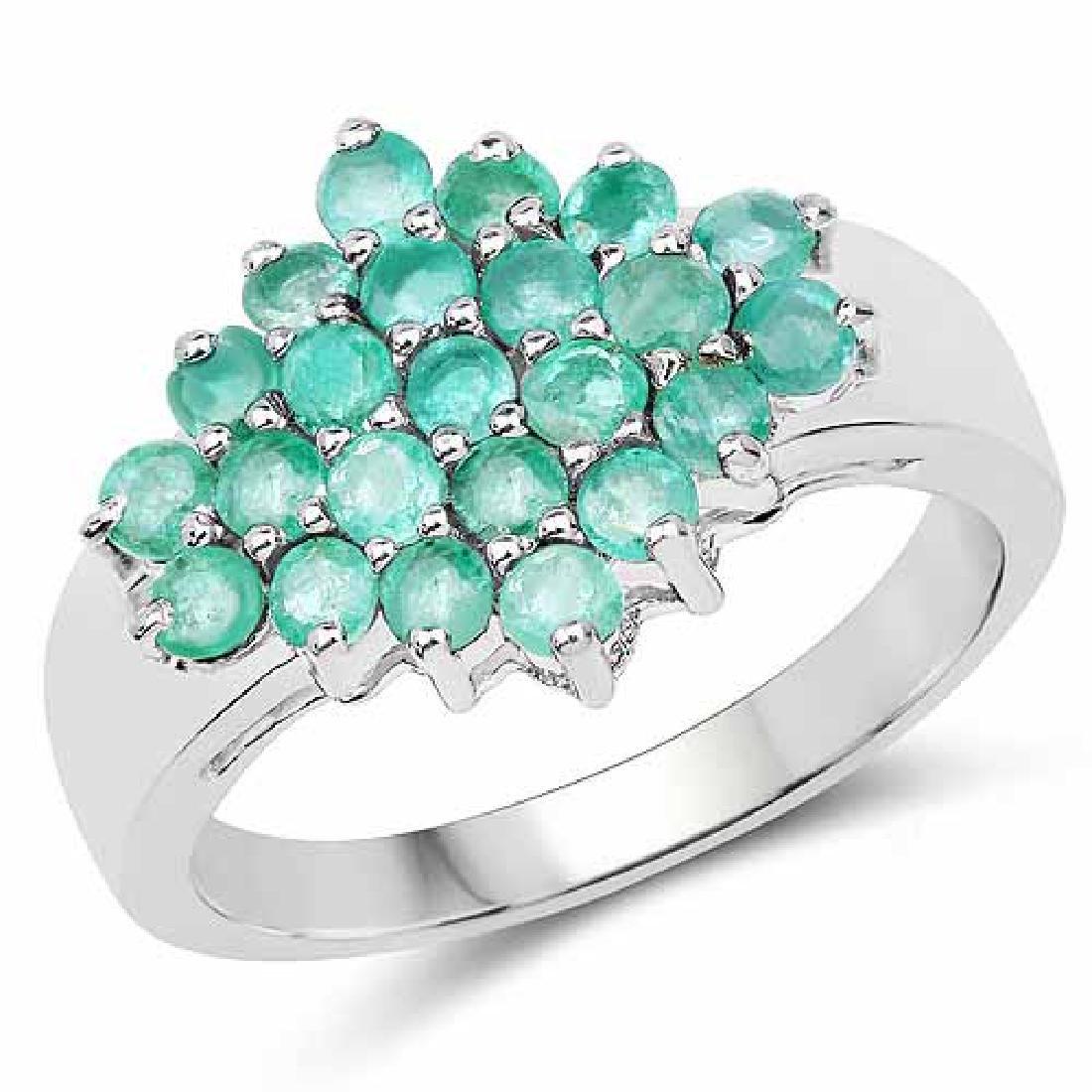 1.61 Carat Genuine Zambian Emerald .925 Sterling Silver