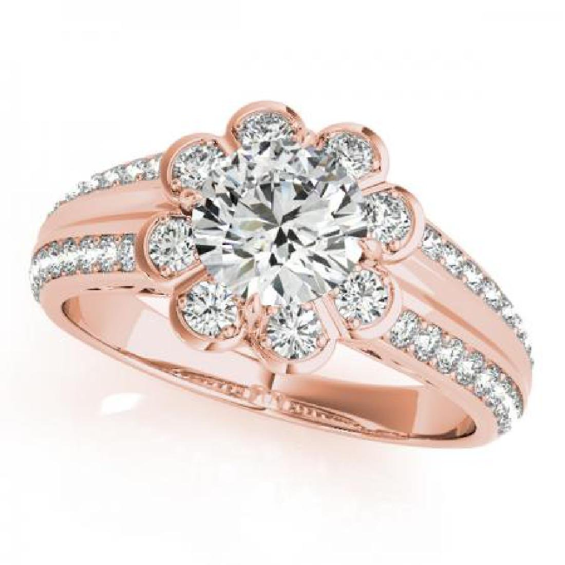 CERTIFIED 18K ROSE GOLD 1.18 CT G-H/VS-SI1 DIAMOND HALO