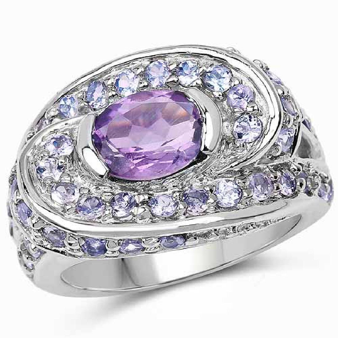 2.76 Carat Genuine Amethyst and Tanzanite .925 Sterling