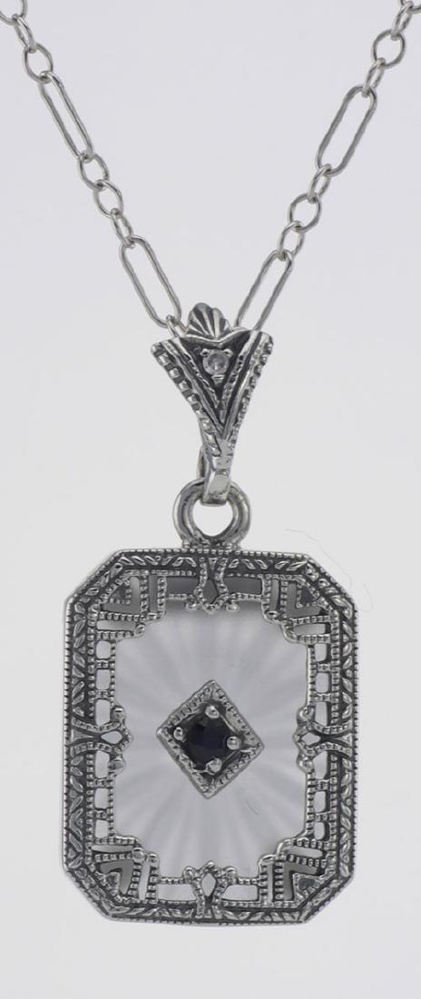 Art Deco Style Sapphire Diamond Crystal Pendant - Sterl