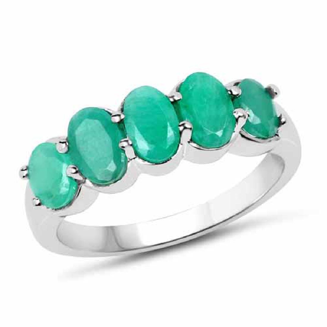 1.78 Carat Genuine Emerald .925 Sterling Silver Ring