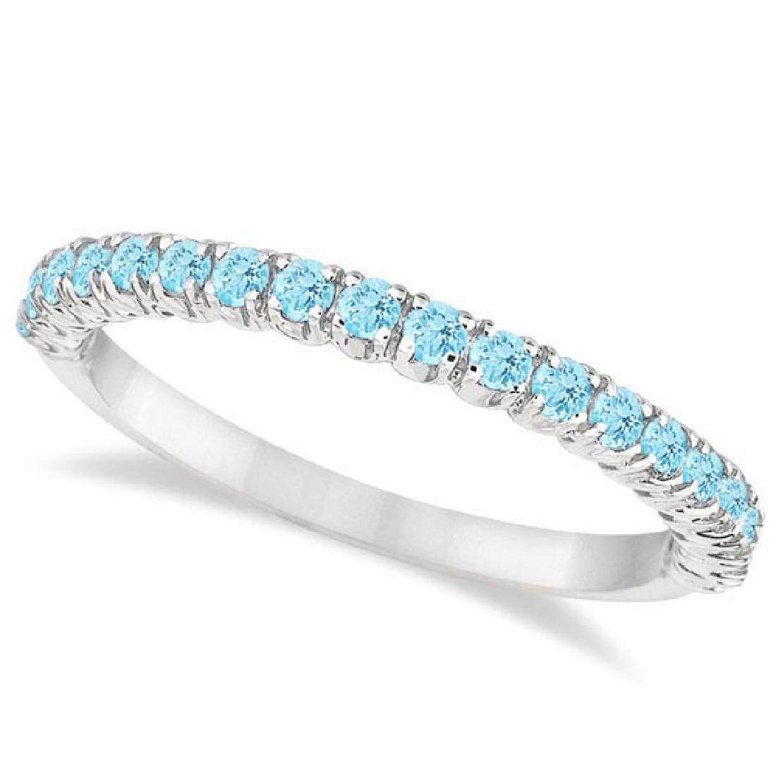 Half-Eternity Pave-Set Thin Aquamarine Stack Ring 14k W