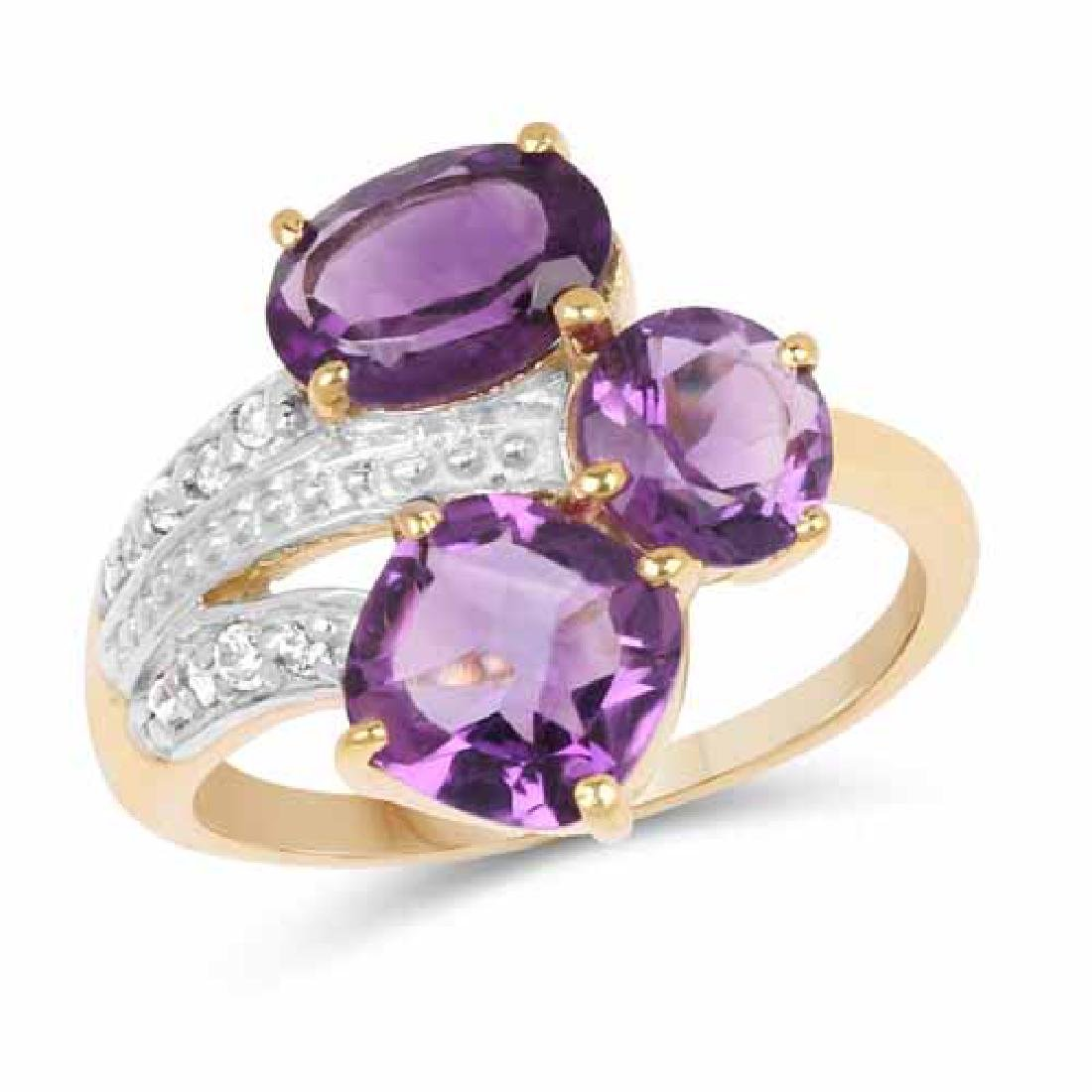 14K Yellow Gold Plated 3.15 Carat Genuine Amethyst and