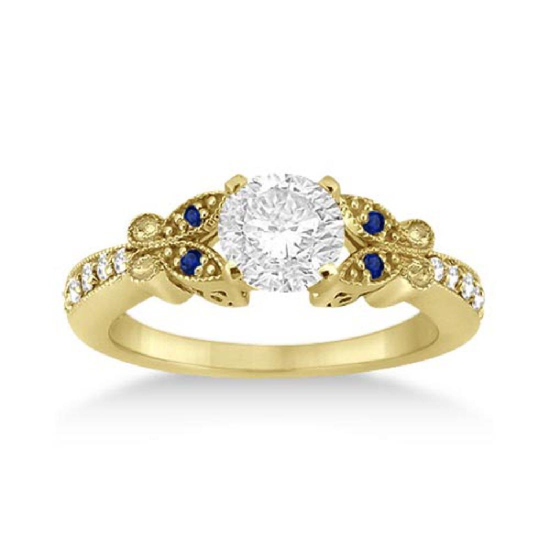 Butterfly Diamond and Sapphire Engagement Ring 14k Yell