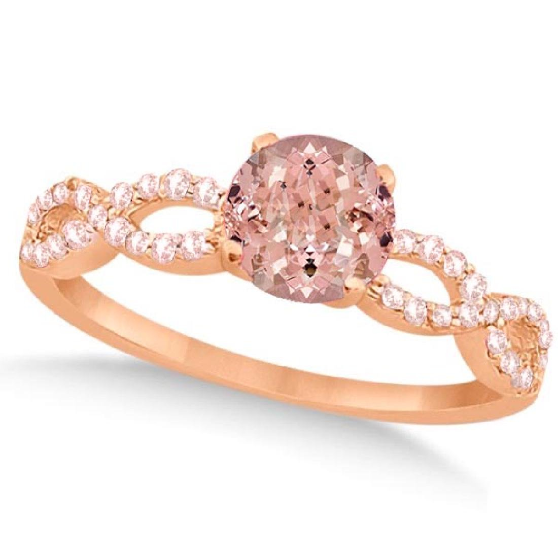Diamond and Morganite Infinity Engagement Ring 14K Rose