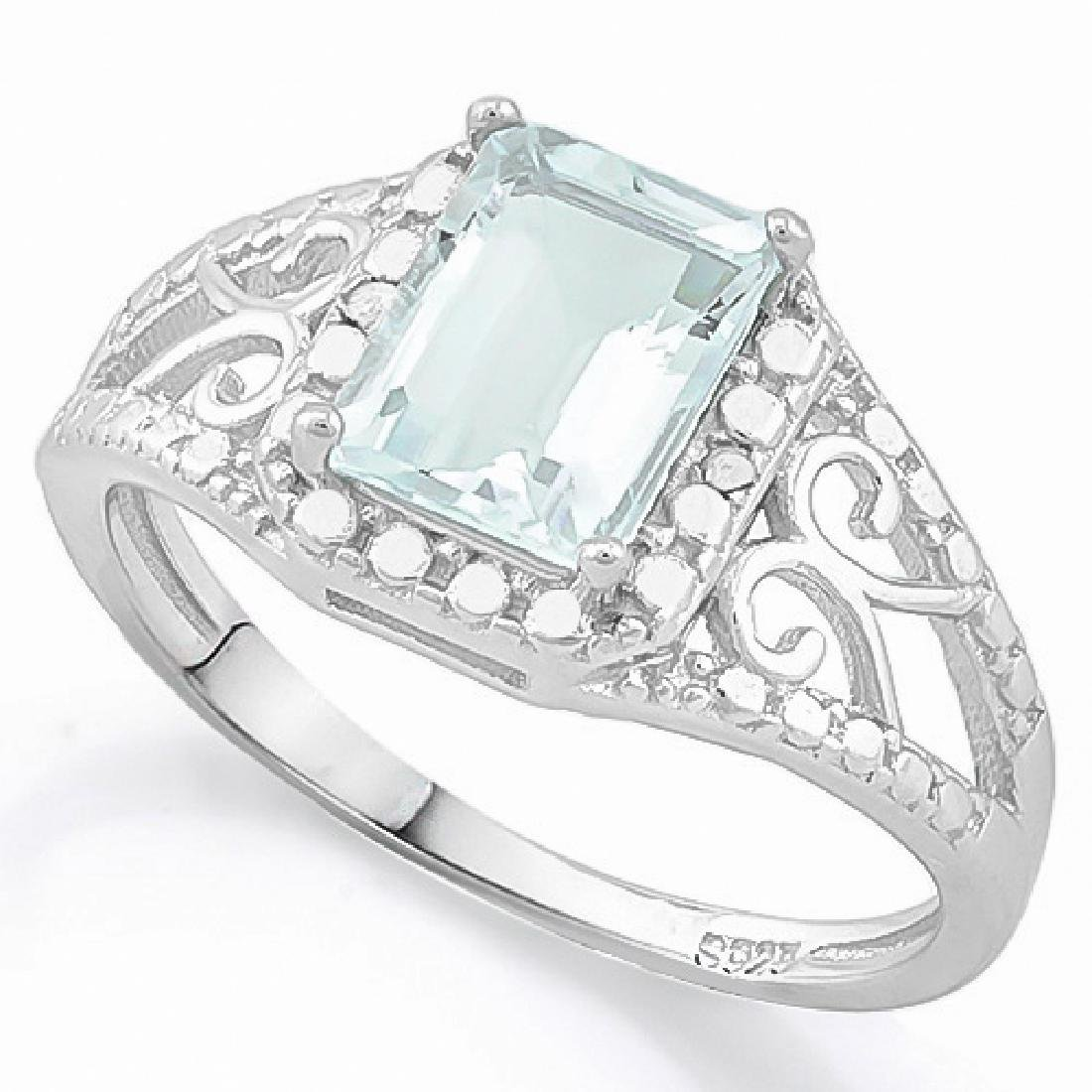 1 2/3 CARAT AQUAMARINE & GENUINE DIAMONDS 925 STERLING