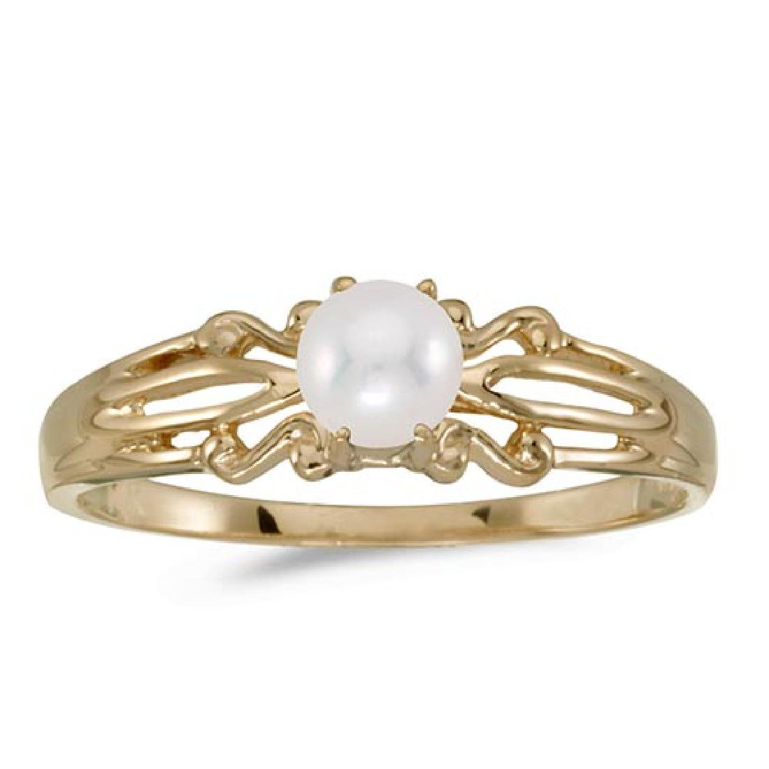 Certified 14k Yellow Gold Pearl Ring