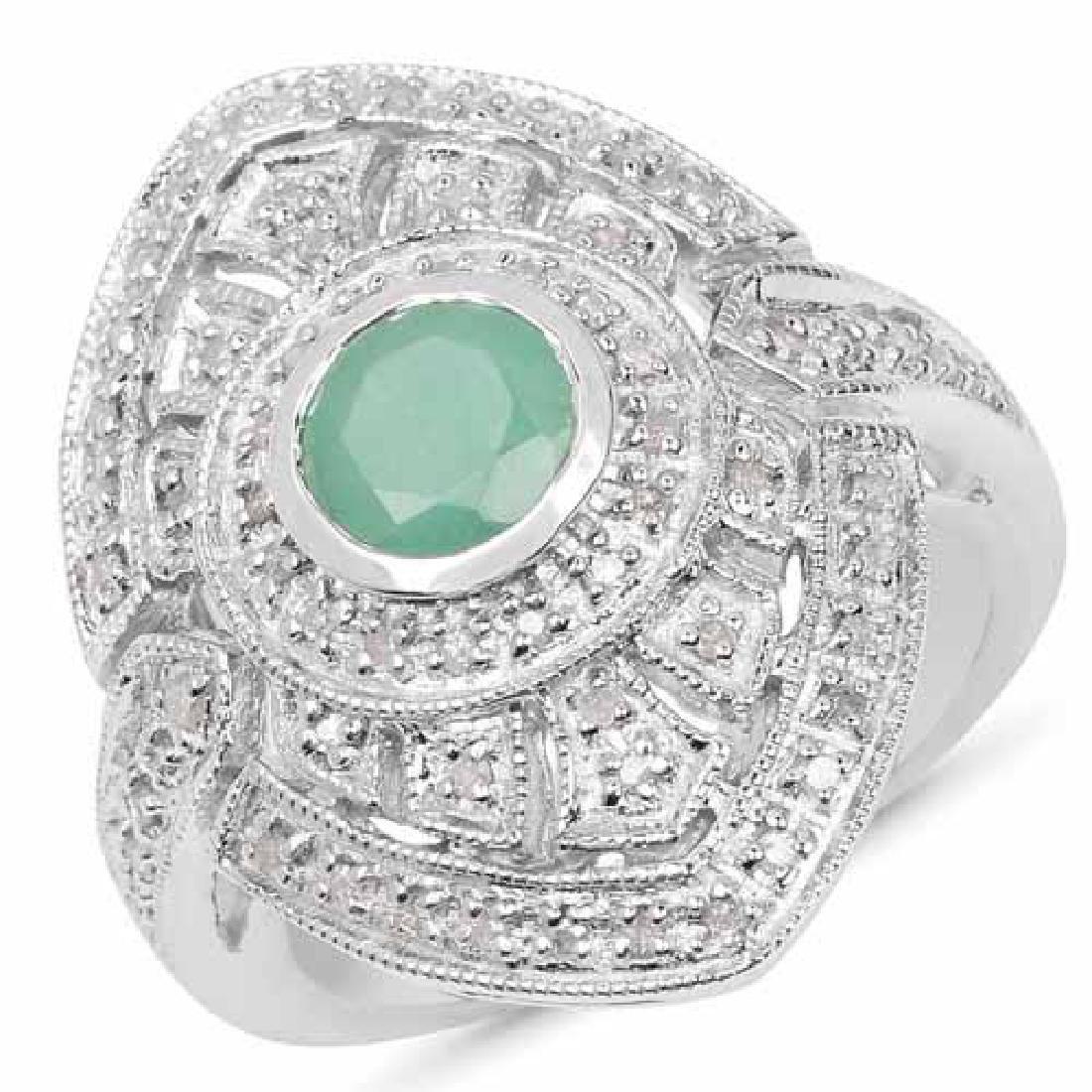 1.03 Carat Genuine Emerald and White Diamond .925 Sterl