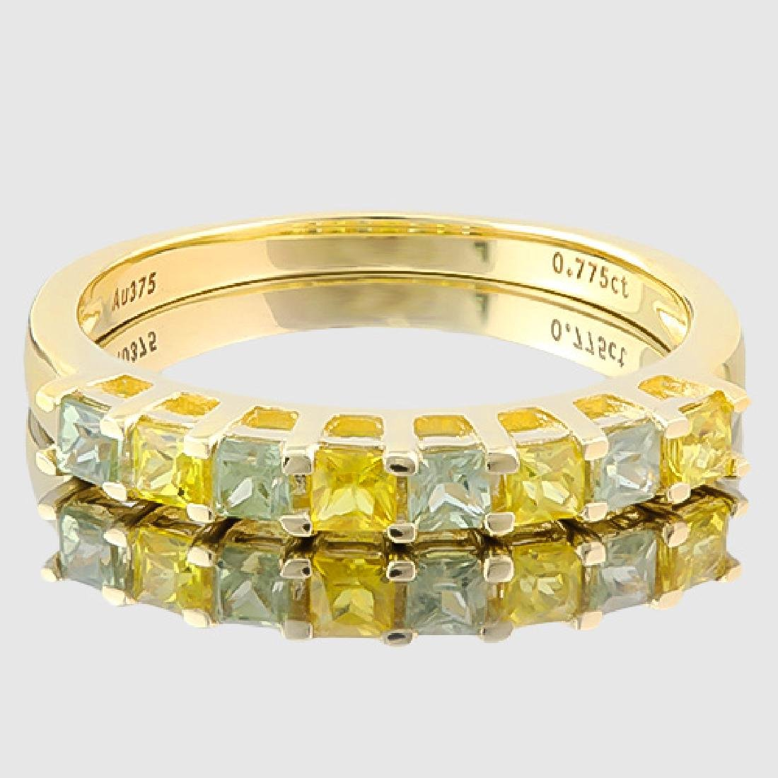 4/5 CARAT (8 PCS) SAPPHIRE (VS) 9KT SOLID GOLD BAND RIN