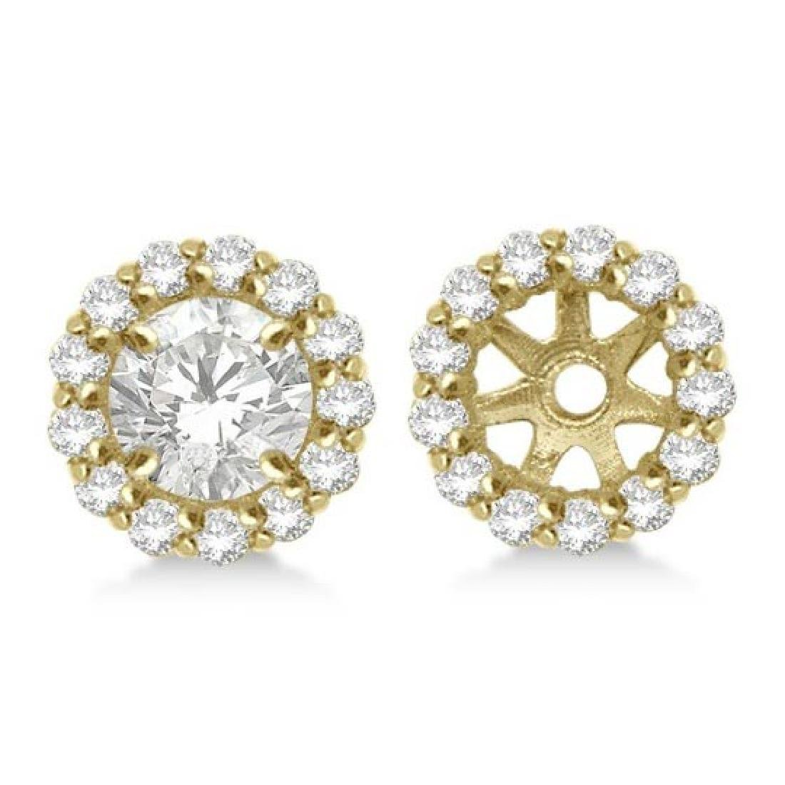 Round Diamond Earring Jackets for 5mm Studs 14K Yellow