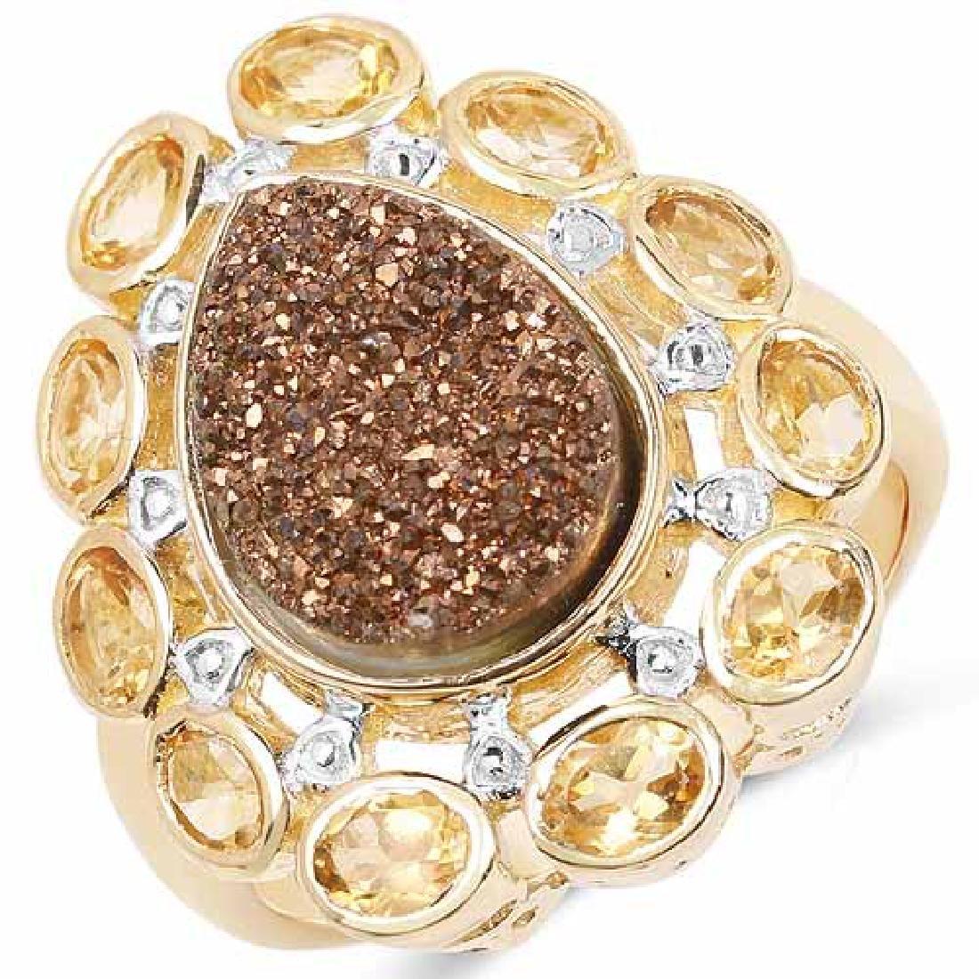 14K Yellow Gold Plated 5.14 Carat Genuine Bronze Drusy