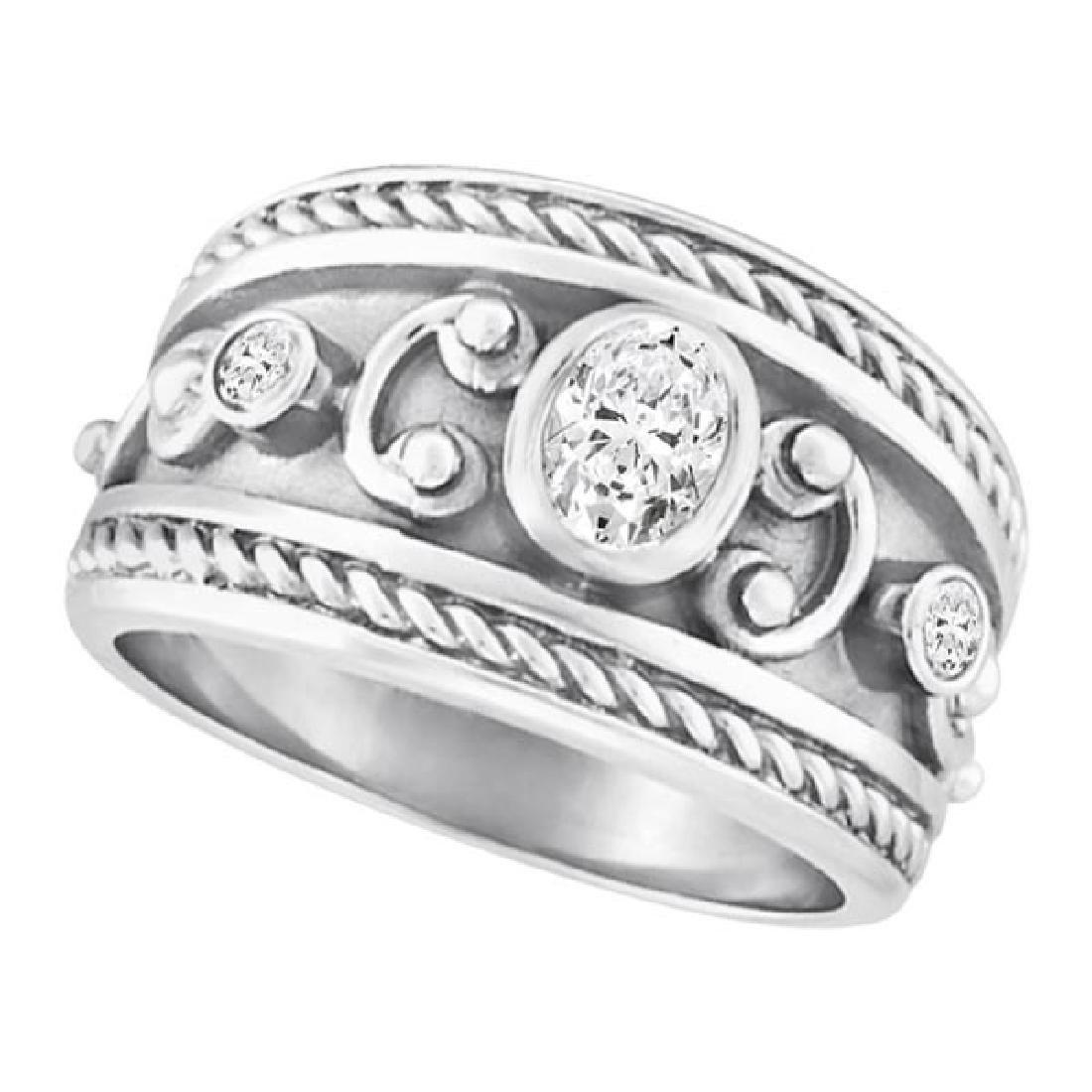 Diamond Byzantine Ring in 18k White Gold (0.56 ctw)