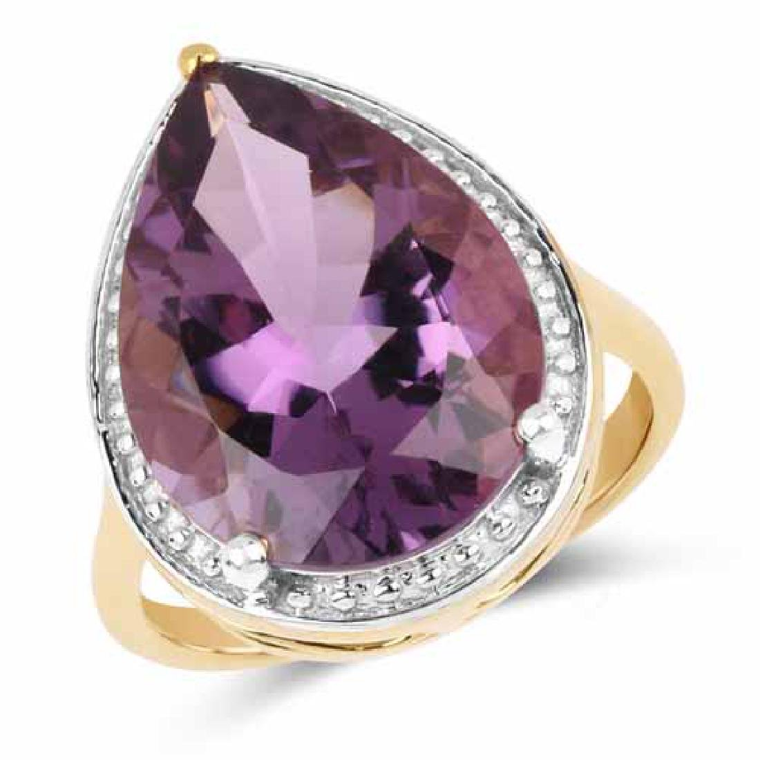 14K Yellow Gold Plated 9.60 Carat Genuine Amethyst .925