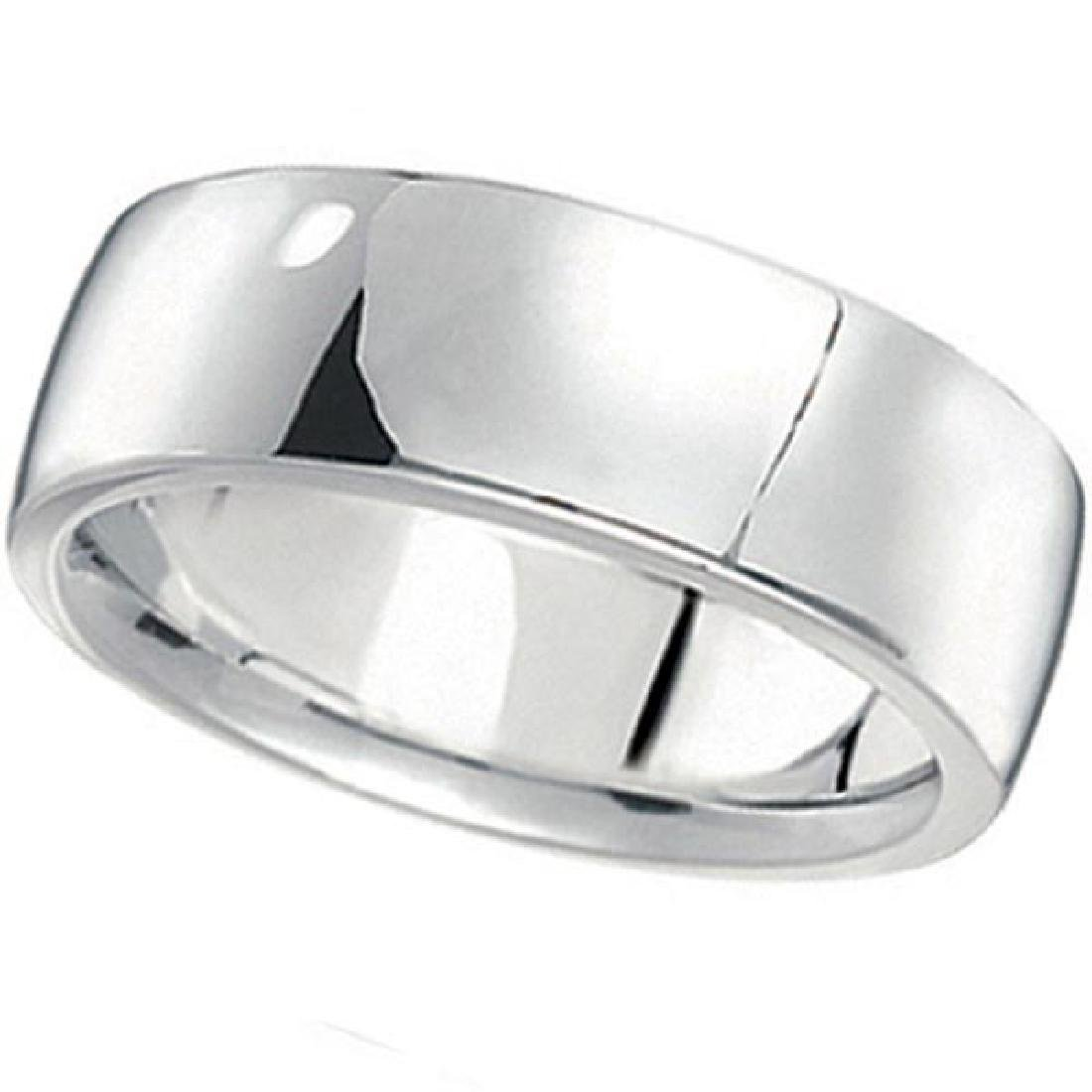 Mens Wedding Band Low Dome Comfort-Fit in 14k White Go