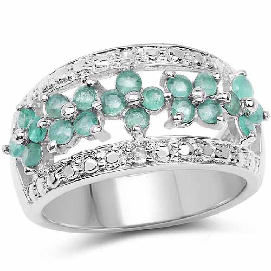 0.62 Carat Genuine Emerald and White Diamond .925 Sterl