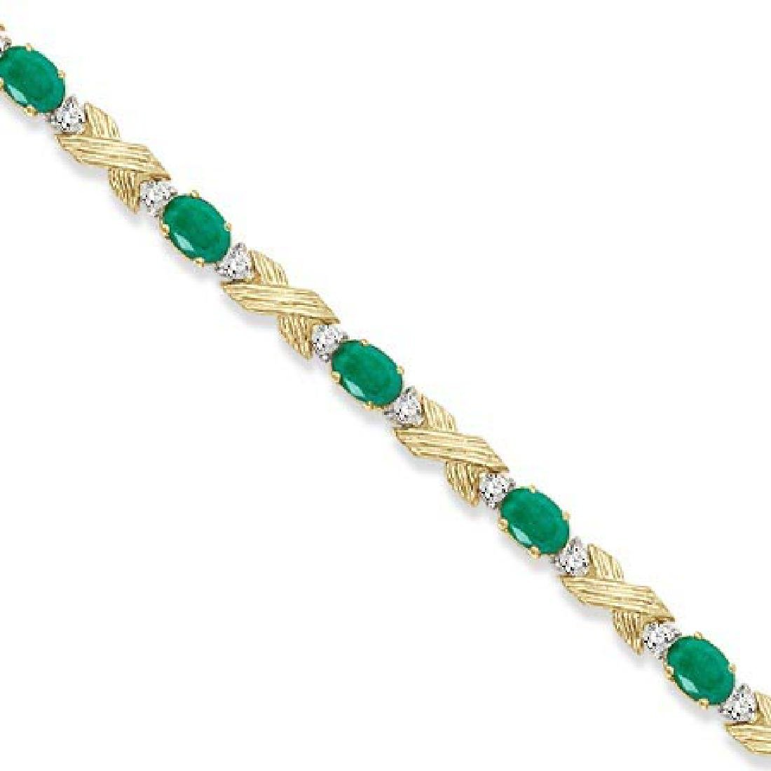 Emerald and Diamond XOXO Link Bracelet in 14k Yellow Go