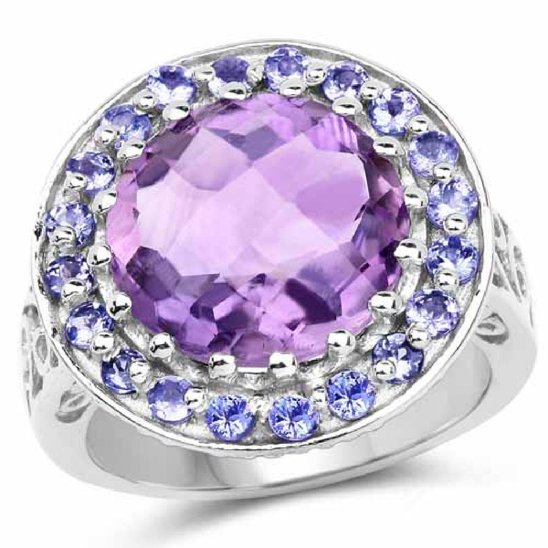 5.95 Carat Genuine Amethyst and Tanzanite .925 Sterling