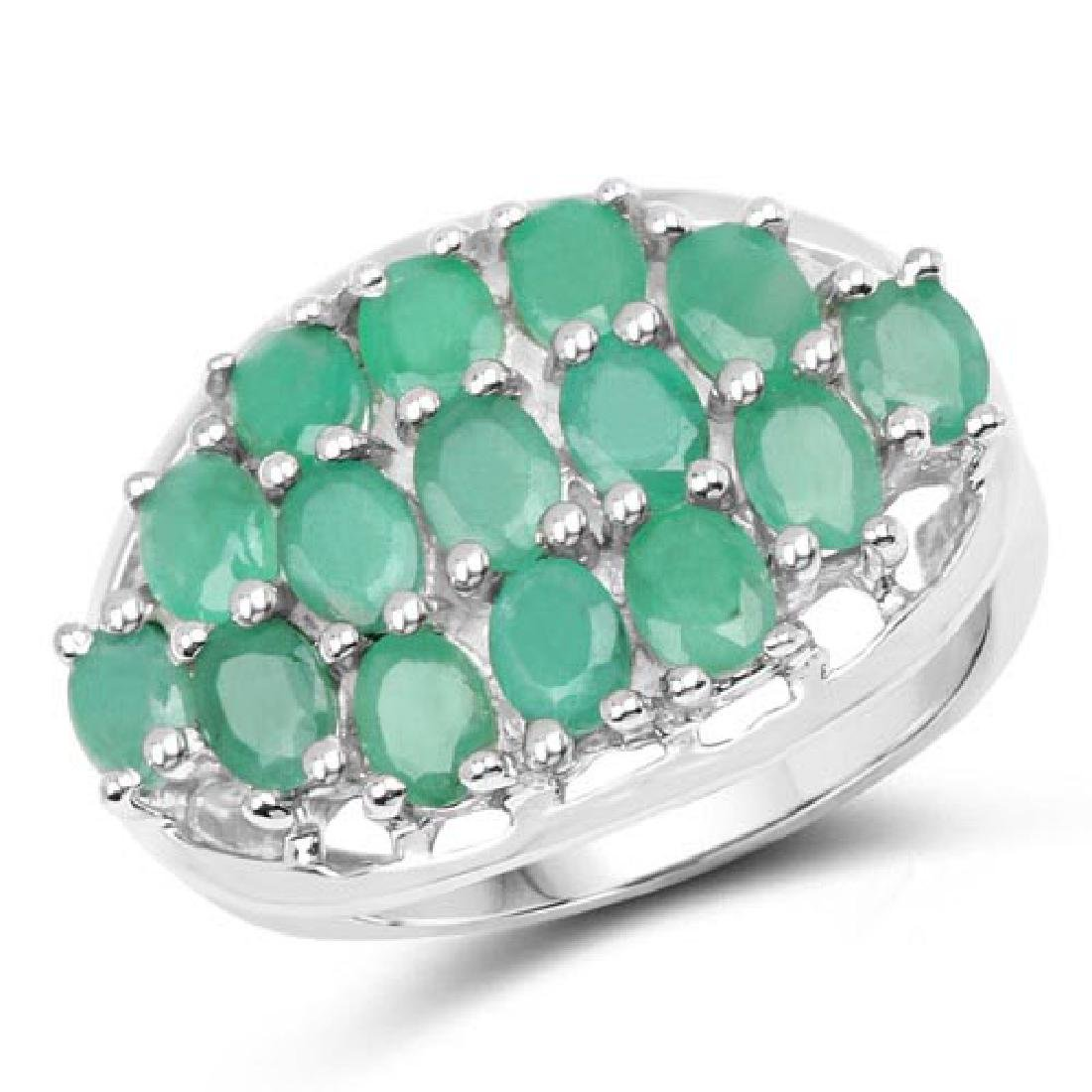 2.10 Carat Genuine Emerald .925 Sterling Silver Ring