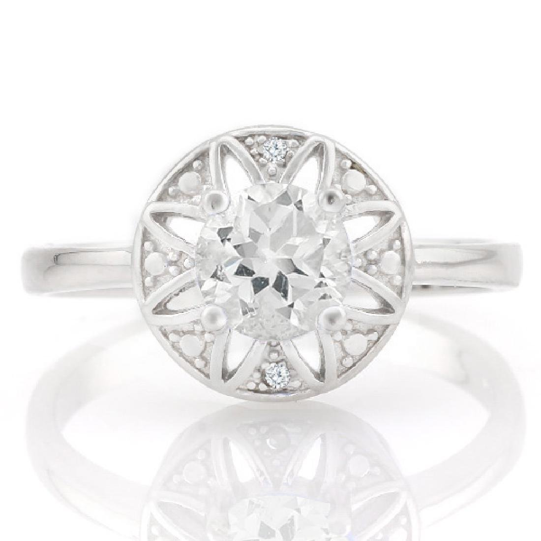 4/5 CARAT WHITE TOPAZ & GENUINE DIAMONDS 925 STERLING S