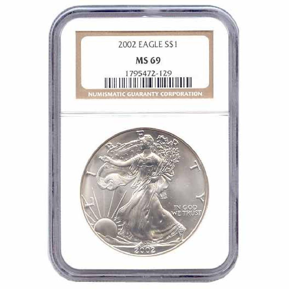 Certified Uncirculated Silver Eagle 2002 MS69