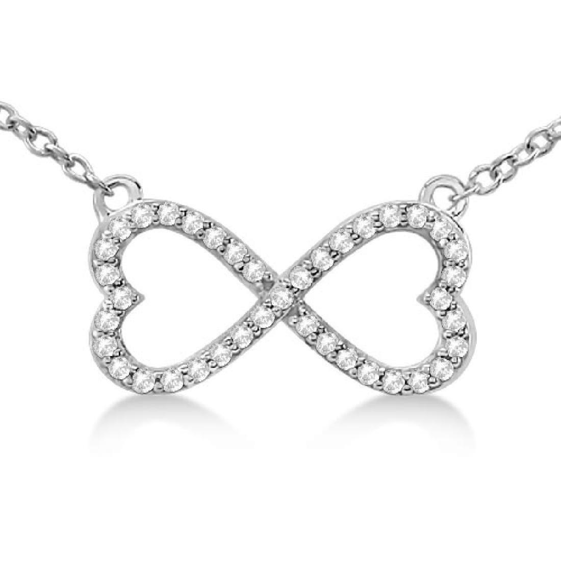 Pave Infinity Heart Diamond Pendant Necklace 14k White