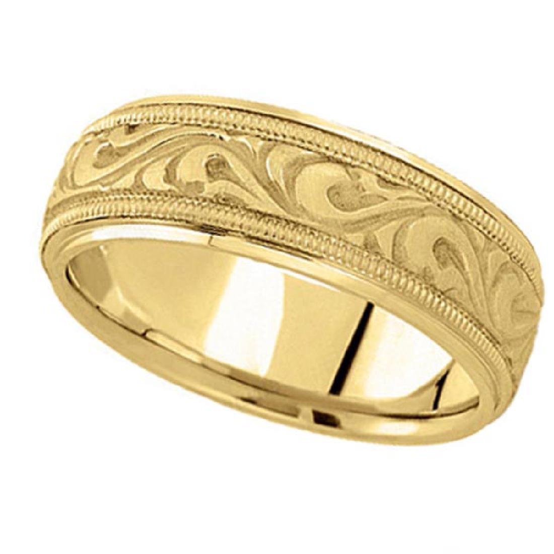 Antique Style Handmade Wedding Band in 18k Yellow Gold