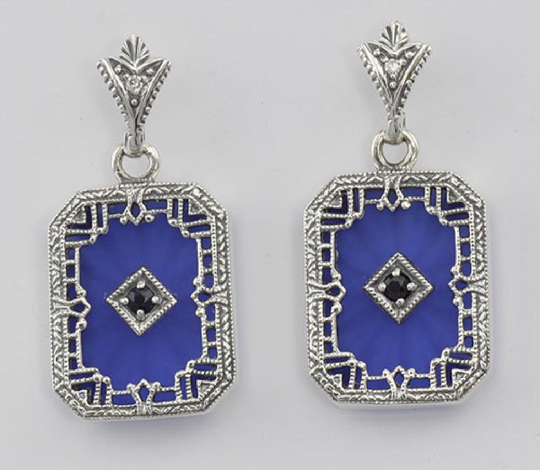 Filigree Blue Crystal / Sapphire Art Deco Earrings - St