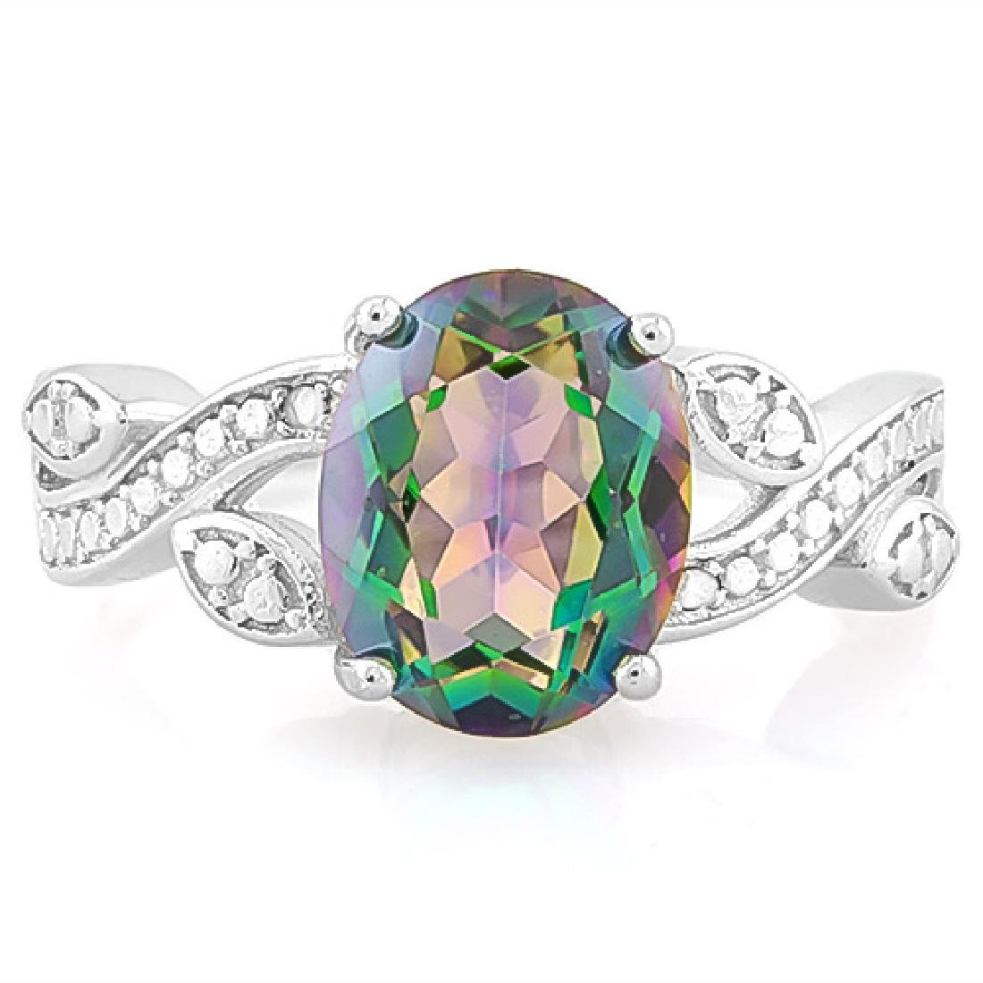 2 2/3 CARAT GREEN MYSTIC GEMSTONE & DIAMOND 925 STERLIN