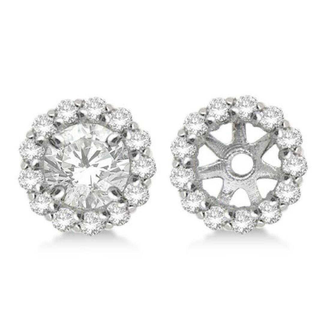 Round Diamond Earring Jackets for 9mm Studs 14K White G