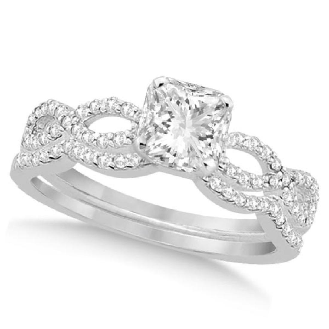 Infinity Princess Cut Diamond Bridal Ring Set 14k White