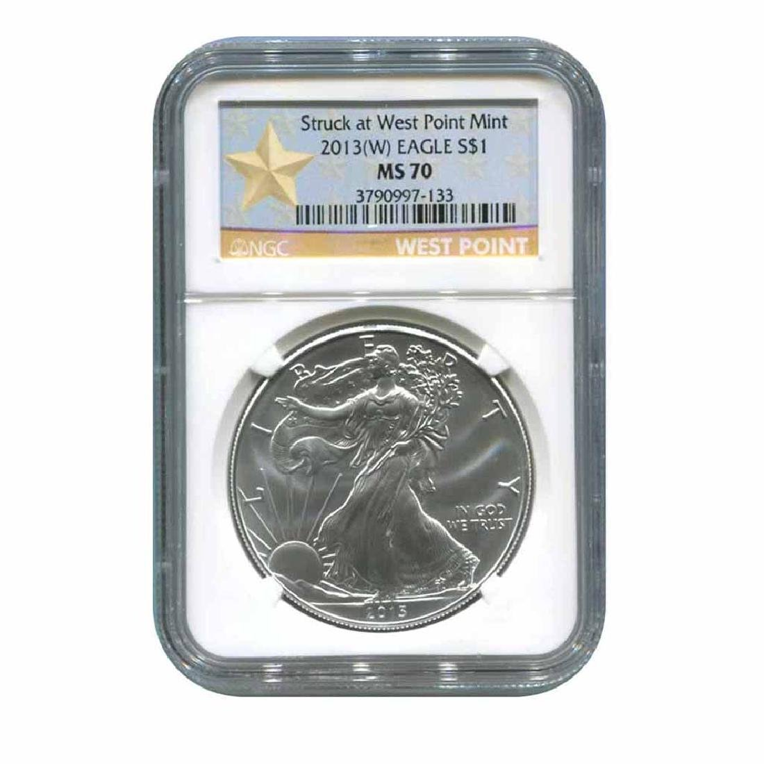 Certified Uncirculated Silver Eagle 2013 MS70 NGC Struc