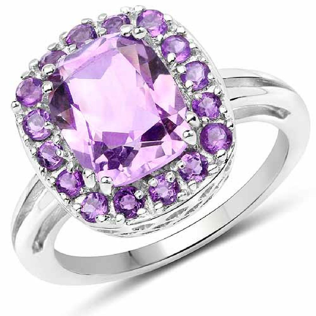3.08 Carat Genuine Amethyst .925 Sterling Silver Ring