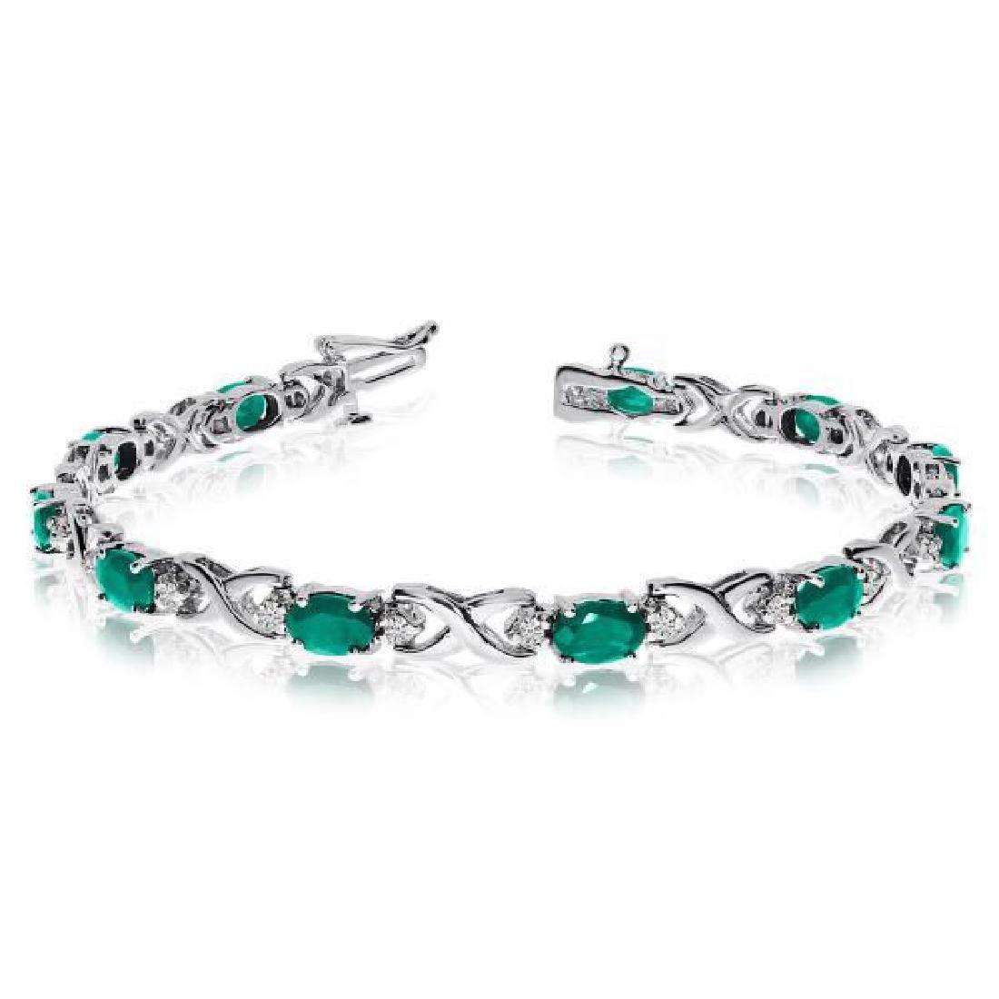 Oval Emerald and Diamond XOXO Link Bracelet 14k White G