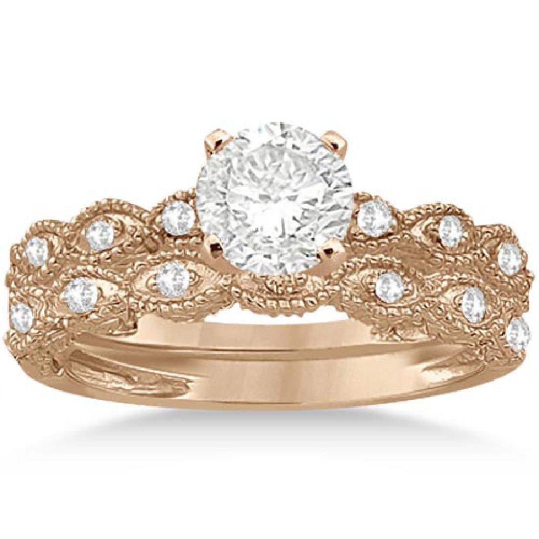 Antique Diamond Engagement Ring Set 18k Rose Gold (0.90