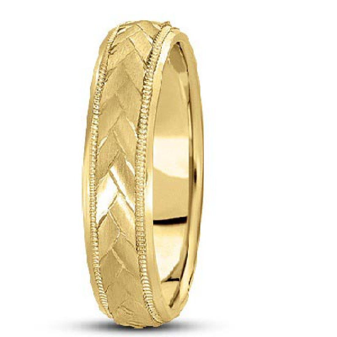 Braided Mens Wedding Ring Diamond Cut Band 14k Yellow