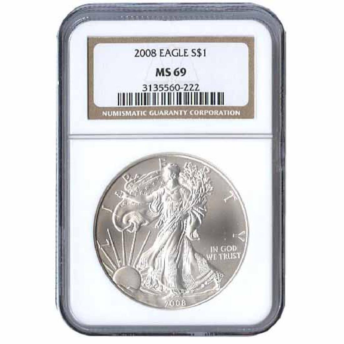 Certified Uncirculated Silver Eagle 2008 MS69