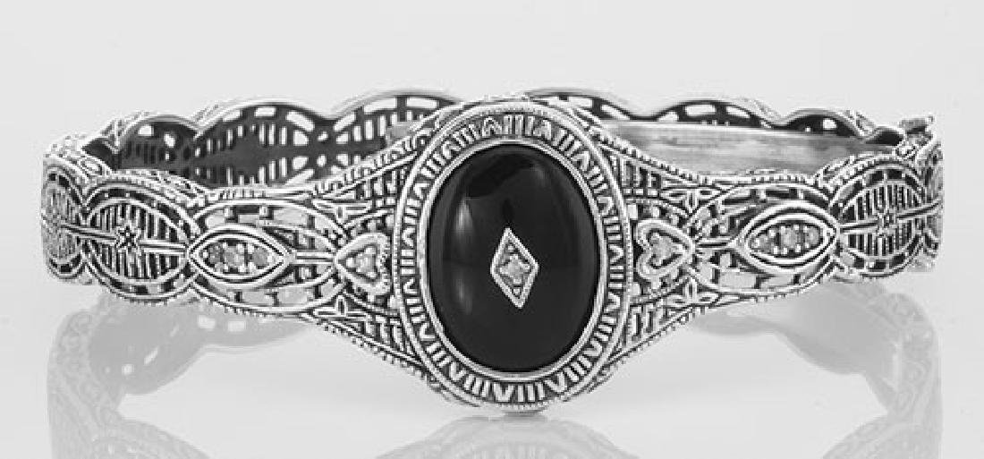Victorian Style Filigree Black Onyx / Diamond Bangle Br