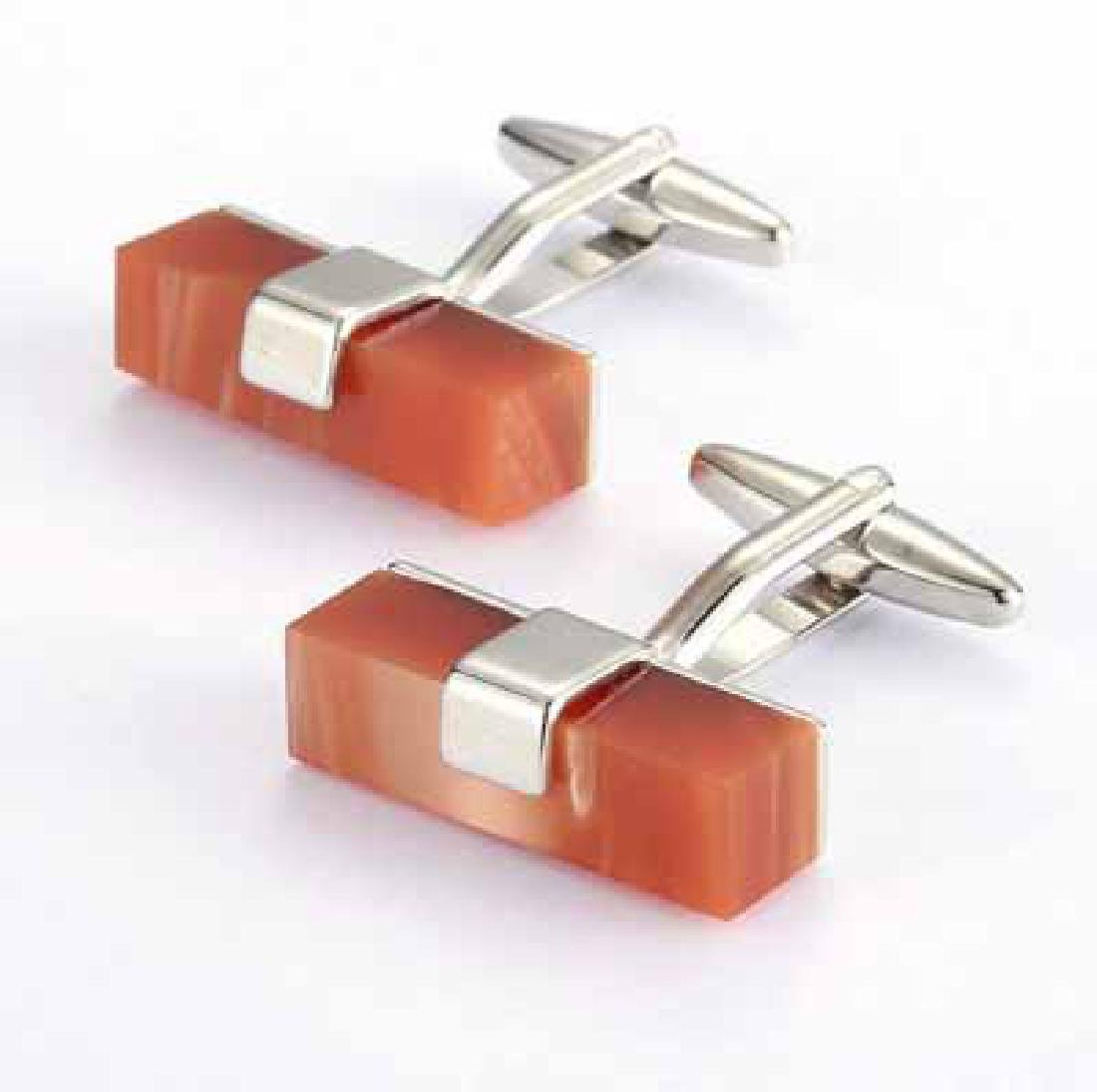 WHITE GOLD PLATED ON BRASS FRENCH CUFFLINK