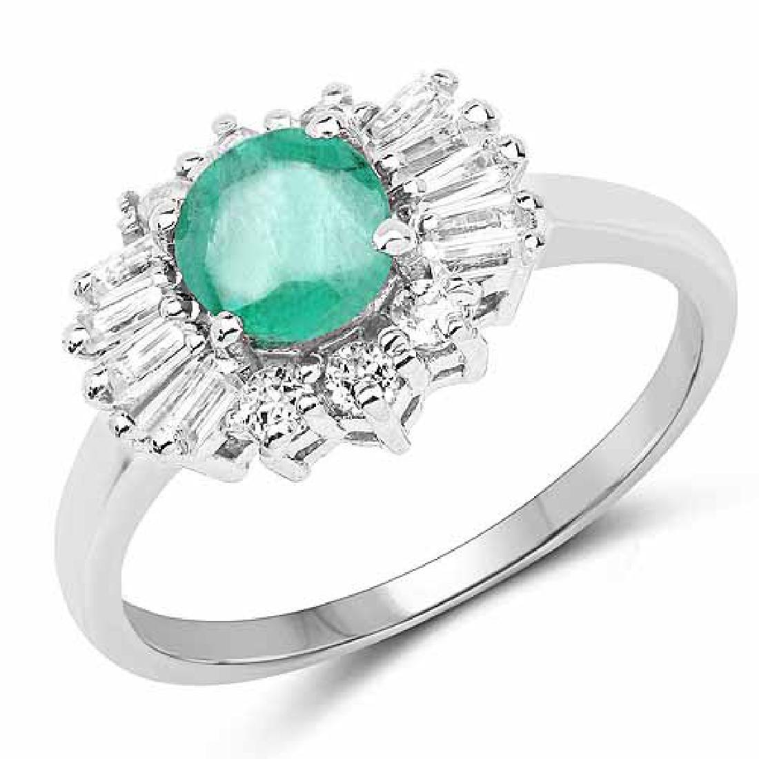 1.59 Carat Genuine Zambian Emerald and White Topaz .925