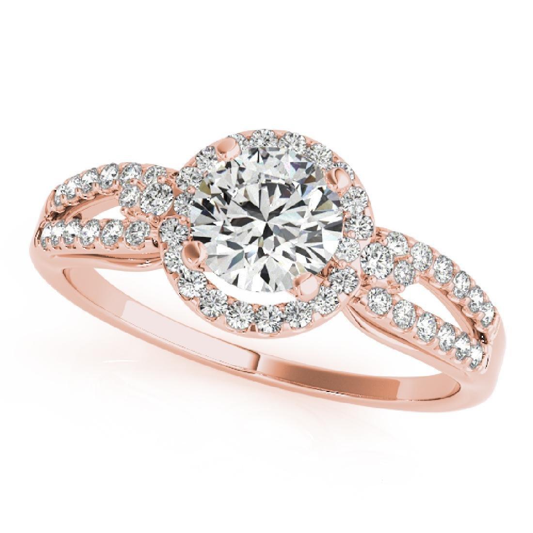 CERTIFIED 18K ROSE GOLD 1.00 CT G-H/VS-SI1 DIAMOND HALO